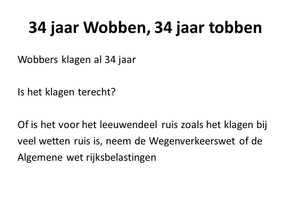 34 jaar Wobben, 34 jaar tobben Wobbers klagen al 34 jaar Is het klagen terecht? Of is het voor het leeuwendeel ruis zoals het klagen bij veel wetten r