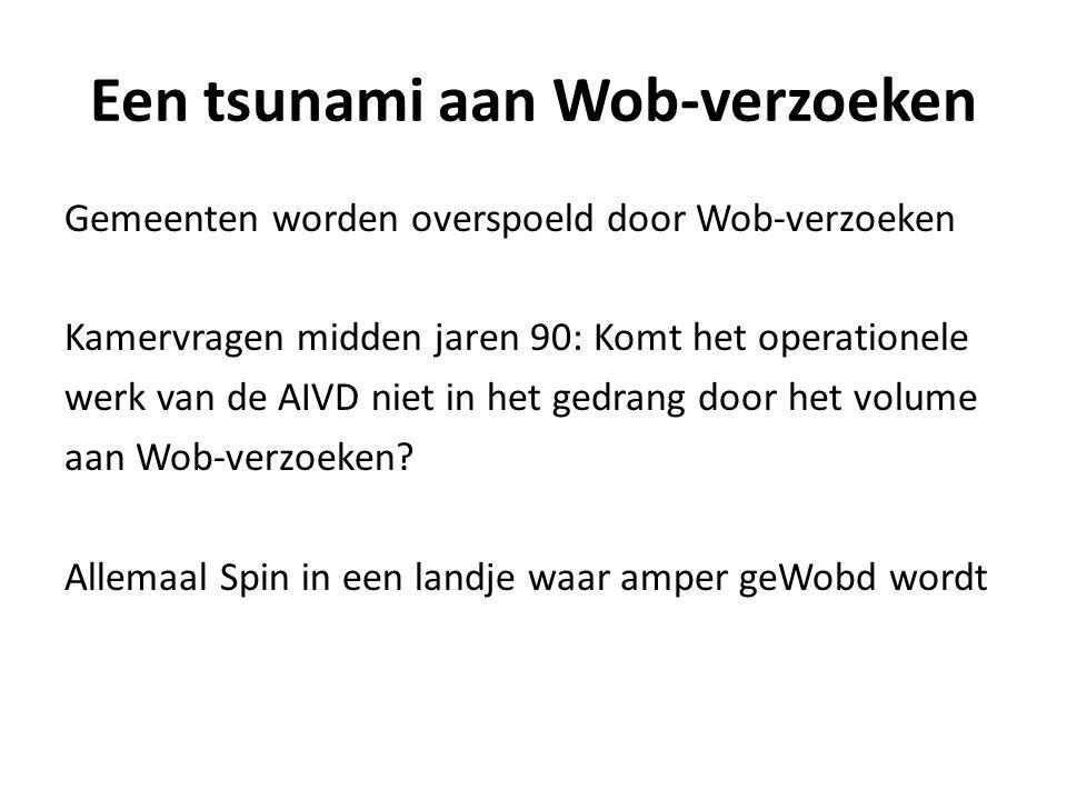 Een tsunami aan Wob-verzoeken Gemeenten worden overspoeld door Wob-verzoeken Kamervragen midden jaren 90: Komt het operationele werk van de AIVD niet in het gedrang door het volume aan Wob-verzoeken.