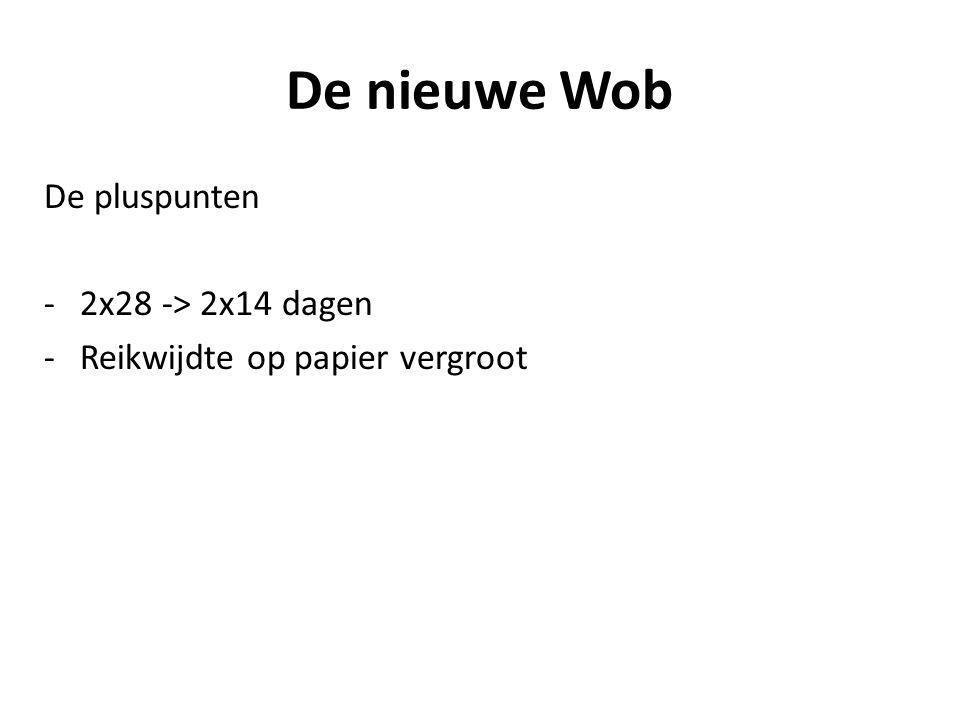 De nieuwe Wob De pluspunten -2x28 -> 2x14 dagen -Reikwijdte op papier vergroot