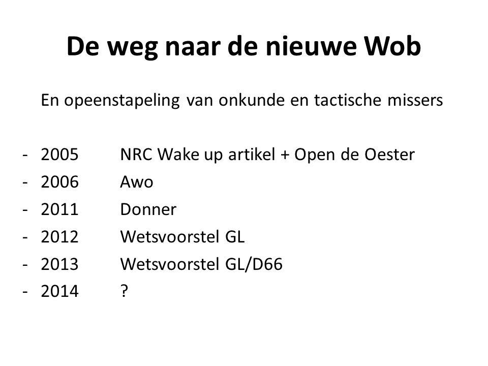 De weg naar de nieuwe Wob En opeenstapeling van onkunde en tactische missers -2005NRC Wake up artikel + Open de Oester -2006 Awo -2011Donner -2012Wetsvoorstel GL -2013Wetsvoorstel GL/D66 -2014?