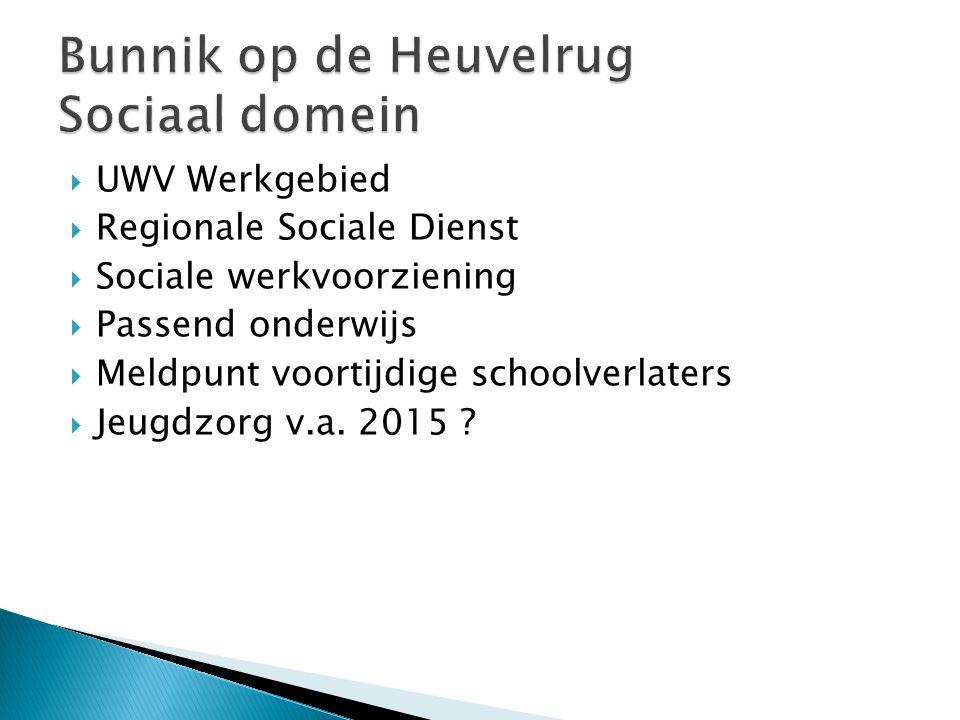  UWV Werkgebied  Regionale Sociale Dienst  Sociale werkvoorziening  Passend onderwijs  Meldpunt voortijdige schoolverlaters  Jeugdzorg v.a.