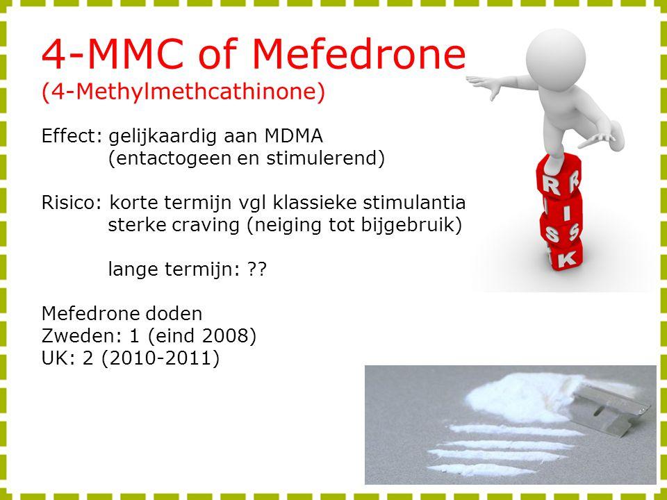4-MMC of Mefedrone (4-Methylmethcathinone) Effect: gelijkaardig aan MDMA (entactogeen en stimulerend) Risico: korte termijn vgl klassieke stimulantia