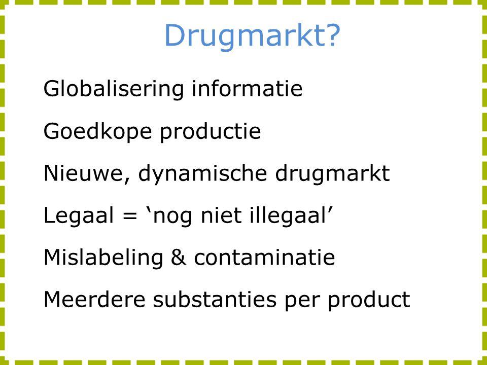 Drugmarkt? Globalisering informatie Goedkope productie Nieuwe, dynamische drugmarkt Legaal = 'nog niet illegaal' Mislabeling & contaminatie Meerdere s