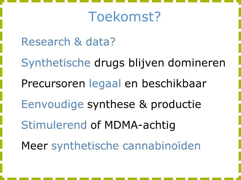Toekomst? Research & data? Synthetische drugs blijven domineren Precursoren legaal en beschikbaar Eenvoudige synthese & productie Stimulerend of MDMA-