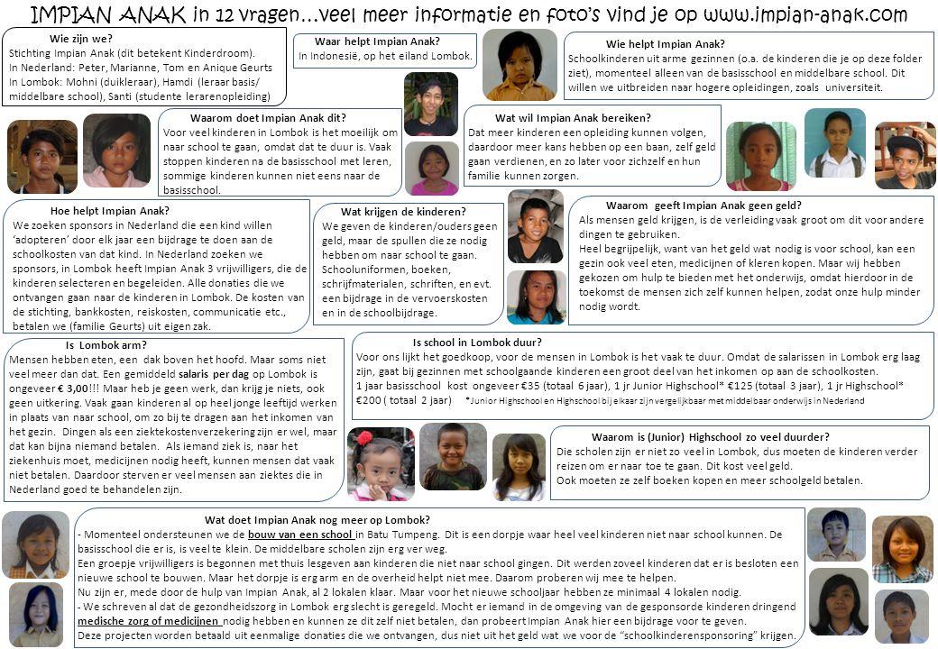 Waar helpt Impian Anak? In Indonesië, op het eiland Lombok. Wie helpt Impian Anak? Schoolkinderen uit arme gezinnen (o.a. de kinderen die je op deze f