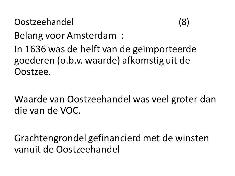 Oostzeehandel (8) Belang voor Amsterdam : In 1636 was de helft van de geïmporteerde goederen (o.b.v. waarde) afkomstig uit de Oostzee. Waarde van Oost