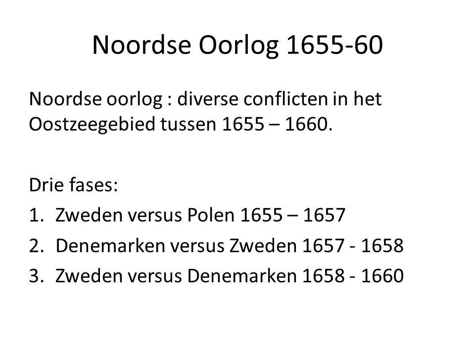 Noordse Oorlog 1655-60 Noordse oorlog : diverse conflicten in het Oostzeegebied tussen 1655 – 1660. Drie fases: 1.Zweden versus Polen 1655 – 1657 2.De