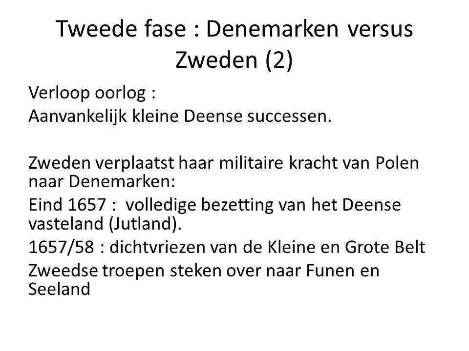 Tweede fase : Denemarken versus Zweden (2) Verloop oorlog : Aanvankelijk kleine Deense successen. Zweden verplaatst haar militaire kracht van Polen na