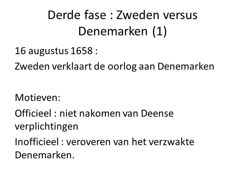 Derde fase : Zweden versus Denemarken (1) 16 augustus 1658 : Zweden verklaart de oorlog aan Denemarken Motieven: Officieel : niet nakomen van Deense v