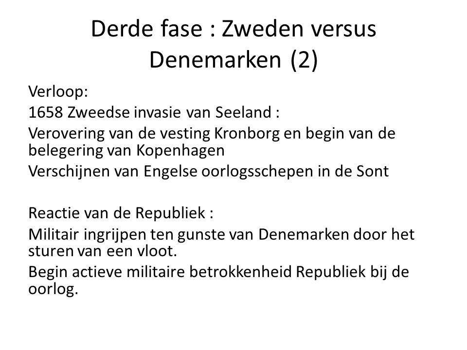 Derde fase : Zweden versus Denemarken (2) Verloop: 1658 Zweedse invasie van Seeland : Verovering van de vesting Kronborg en begin van de belegering va