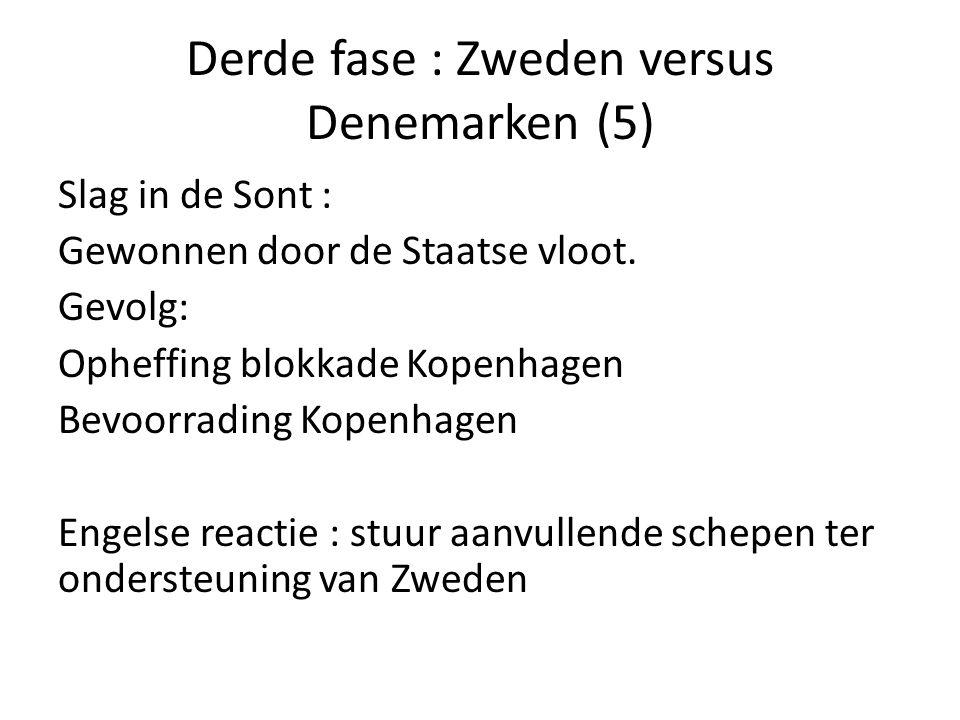 Derde fase : Zweden versus Denemarken (5) Slag in de Sont : Gewonnen door de Staatse vloot. Gevolg: Opheffing blokkade Kopenhagen Bevoorrading Kopenha