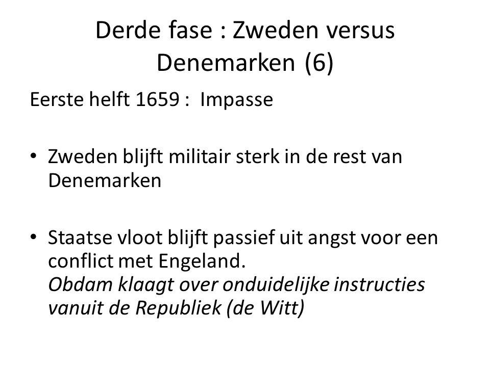 Derde fase : Zweden versus Denemarken (6) Eerste helft 1659 : Impasse • Zweden blijft militair sterk in de rest van Denemarken • Staatse vloot blijft