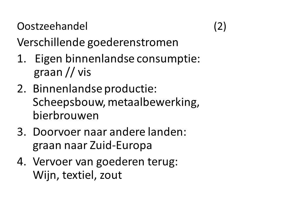 Oostzeehandel (2) Verschillende goederenstromen 1. Eigen binnenlandse consumptie: graan // vis 2.Binnenlandse productie: Scheepsbouw, metaalbewerking,