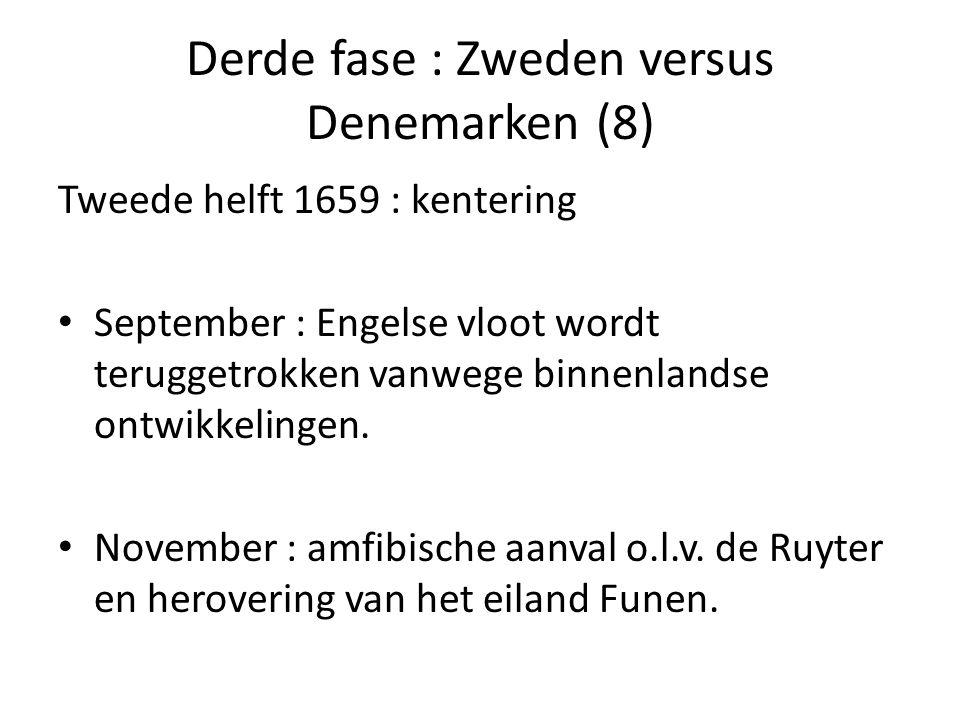 Derde fase : Zweden versus Denemarken (8) Tweede helft 1659 : kentering • September : Engelse vloot wordt teruggetrokken vanwege binnenlandse ontwikke