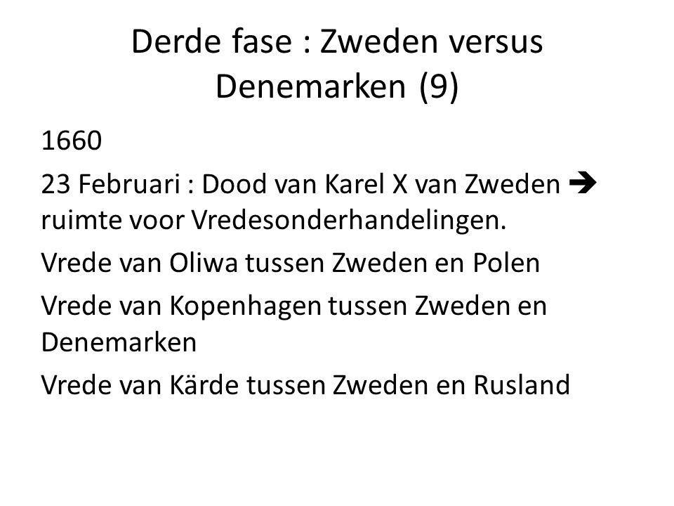 Derde fase : Zweden versus Denemarken (9) 1660 23 Februari : Dood van Karel X van Zweden  ruimte voor Vredesonderhandelingen. Vrede van Oliwa tussen