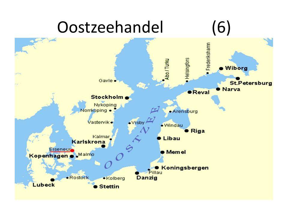 Oostzeehandel (7) Concentratie Oostzeehandel in Noord-Hollandse steden : Amsterdam, Hoorn en Enkhuizen Scheepsproductie : Zaanse streek Zuid-Hollandse steden : Rotterdam, Dordrecht, Delft niet tot nauwelijks betrokken bij de Oostzeehandel