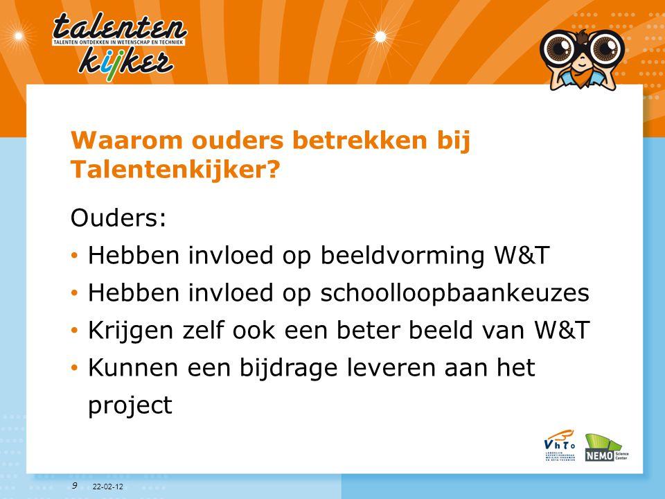 10 Het project Talentenkijker • Voor leerlingen uit groep (6), 7 & 8 • Leerlingen gaan op zoek naar hun talenten • Leerlingen maken kennis met beroepen uit de wereld van W&T • Leerlingen ontdekken welke talenten je nodig hebt voor W&T-beroepen • Leerlingen krijgen een beter en breder beeld van beroepen in W&T • Stereotiepe beelden van beroepen in W&T worden tegengegaan 22-02-12