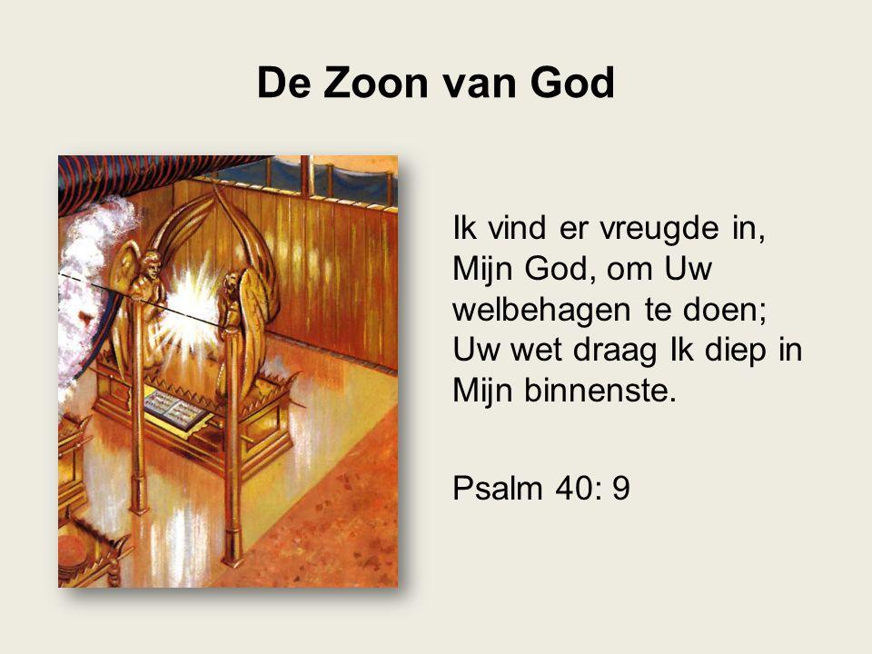 De Zoon van God Ik vind er vreugde in, Mijn God, om Uw welbehagen te doen; Uw wet draag Ik diep in Mijn binnenste. Psalm 40: 9