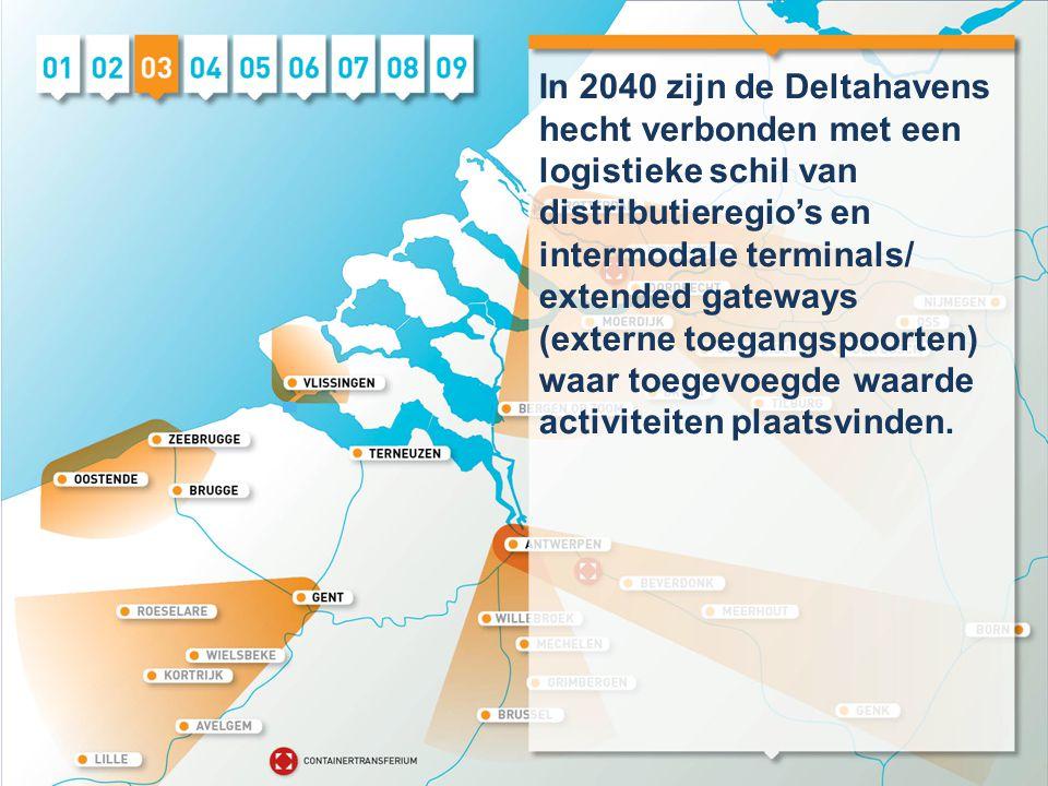 In 2040 zijn de Deltahavens hecht verbonden met een logistieke schil van distributieregio's en intermodale terminals/ extended gateways (externe toegangspoorten) waar toegevoegde waarde activiteiten plaatsvinden.