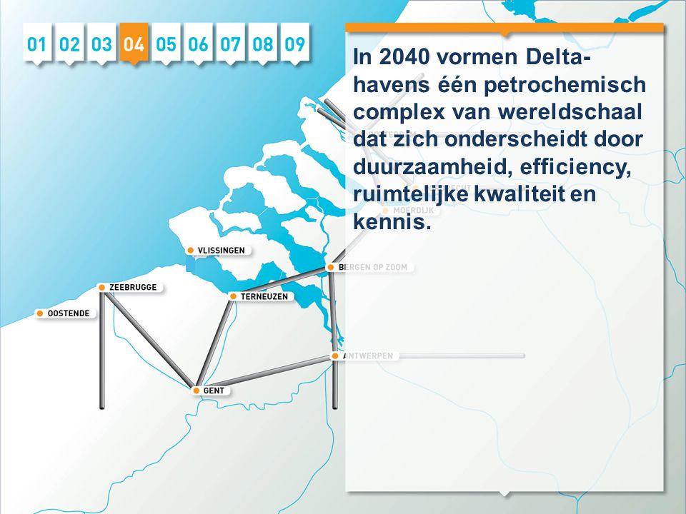 In 2040 vormen Delta- havens één petrochemisch complex van wereldschaal dat zich onderscheidt door duurzaamheid, efficiency, ruimtelijke kwaliteit en kennis.