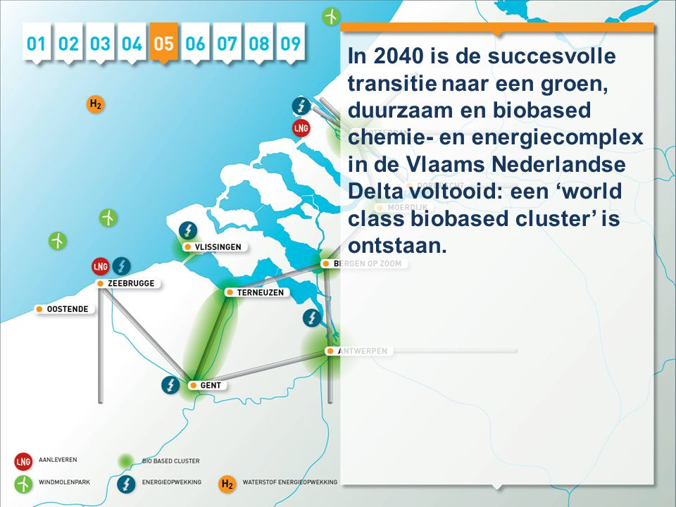 In 2040 is de succesvolle transitie naar een groen, duurzaam en biobased chemie- en energiecomplex in de Vlaams Nederlandse Delta voltooid: een 'world
