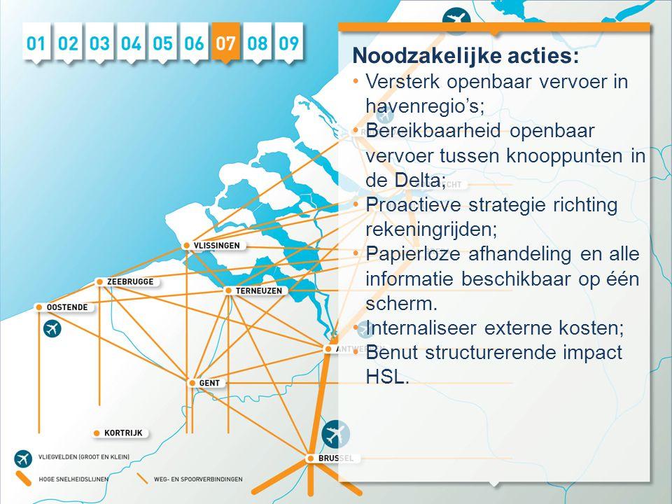 Noodzakelijke acties: •Versterk openbaar vervoer in havenregio's; •Bereikbaarheid openbaar vervoer tussen knooppunten in de Delta; •Proactieve strategie richting rekeningrijden; •Papierloze afhandeling en alle informatie beschikbaar op één scherm.