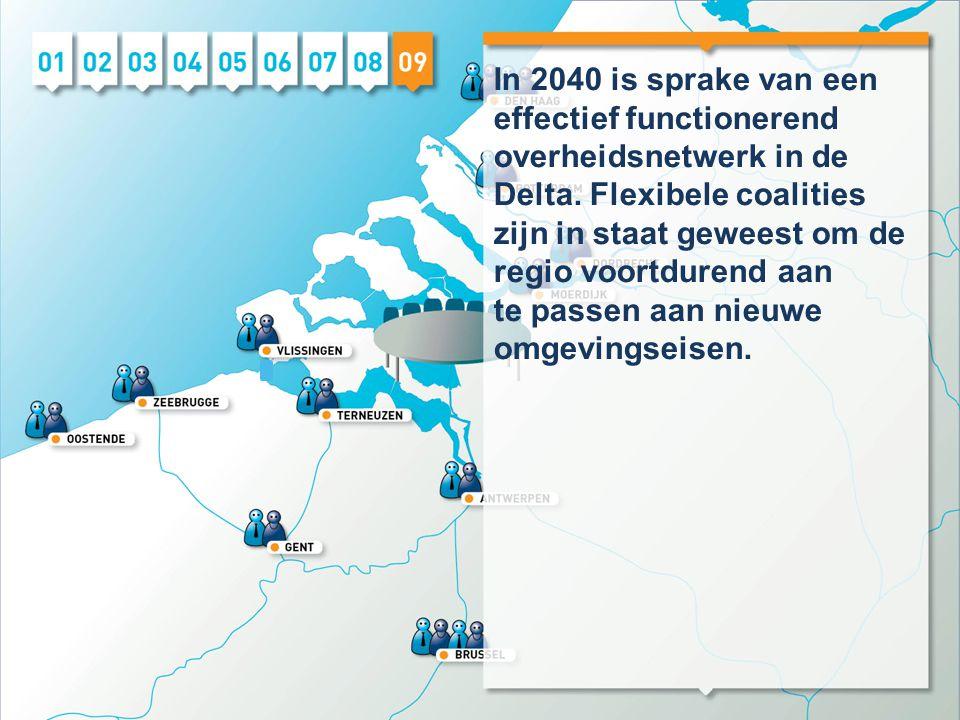 In 2040 is sprake van een effectief functionerend overheidsnetwerk in de Delta. Flexibele coalities zijn in staat geweest om de regio voortdurend aan