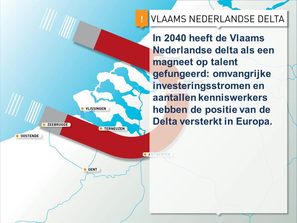 In 2040 heeft de Vlaams Nederlandse delta als een magneet op talent gefungeerd: omvangrijke investeringsstromen en aantallen kenniswerkers hebben de p