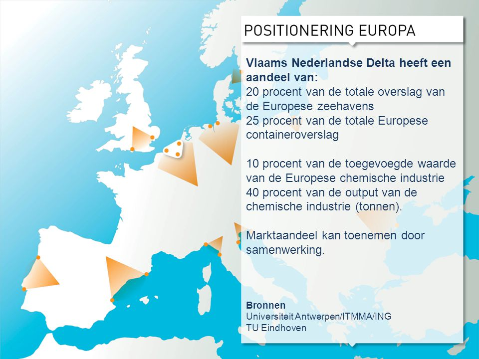 Vlaams Nederlandse Delta heeft een aandeel van: 20 procent van de totale overslag van de Europese zeehavens 25 procent van de totale Europese containe