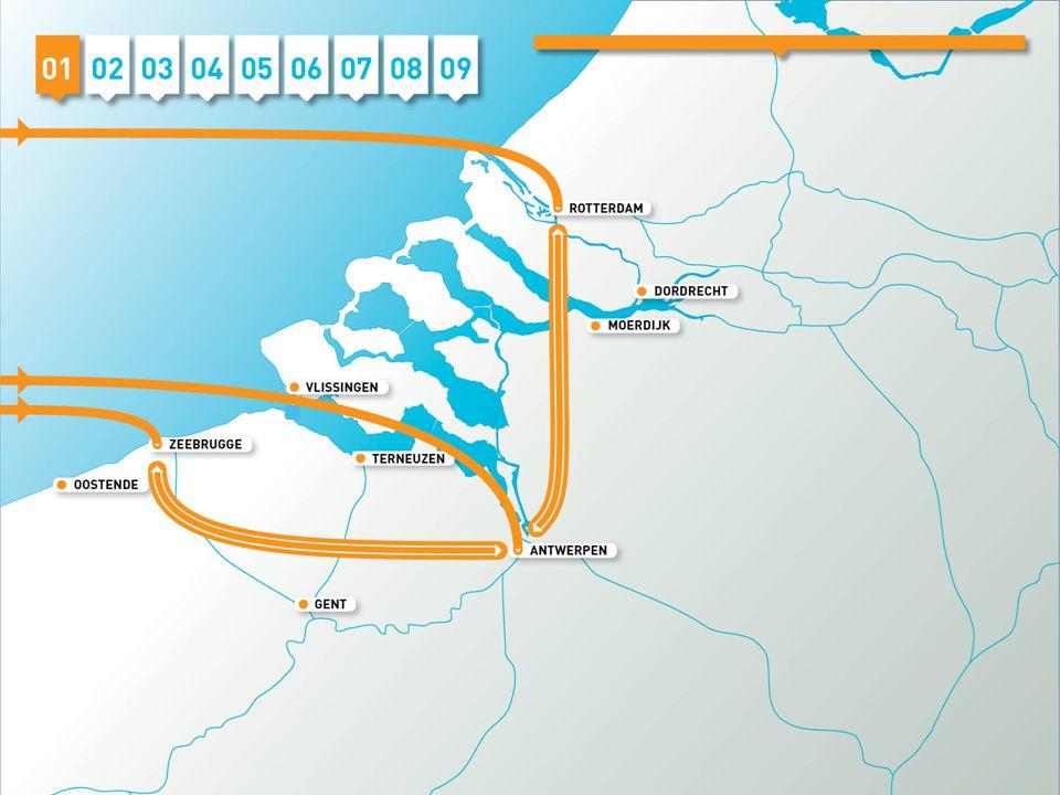 In 2040 hebben Antwerpen en Rotterdam hun positie als global containerhubs behouden, is Zeebrugge de derde containerhaven, is sprake van groei, schaalvergroting en intermainport-verkeer.
