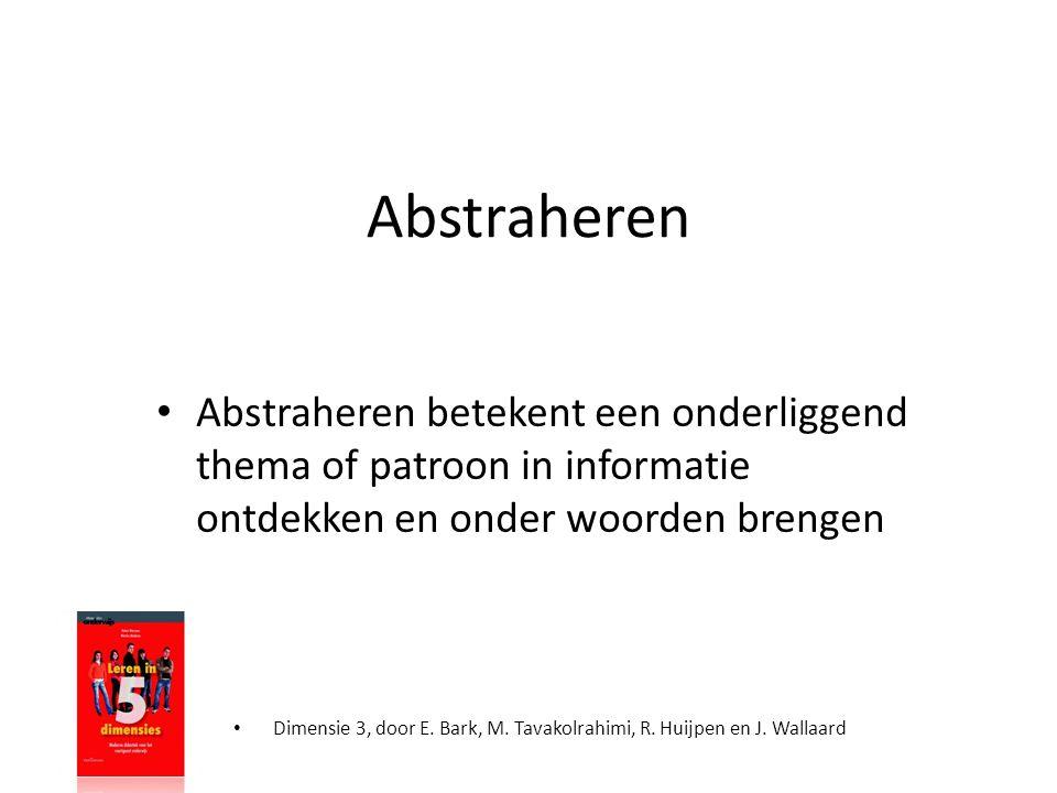 Abstraheren • Abstraheren betekent een onderliggend thema of patroon in informatie ontdekken en onder woorden brengen