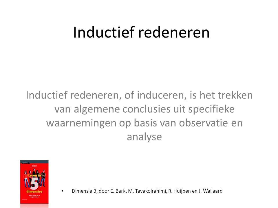 • Dimensie 3, door E. Bark, M. Tavakolrahimi, R. Huijpen en J. Wallaard Inductief redeneren Inductief redeneren, of induceren, is het trekken van alge