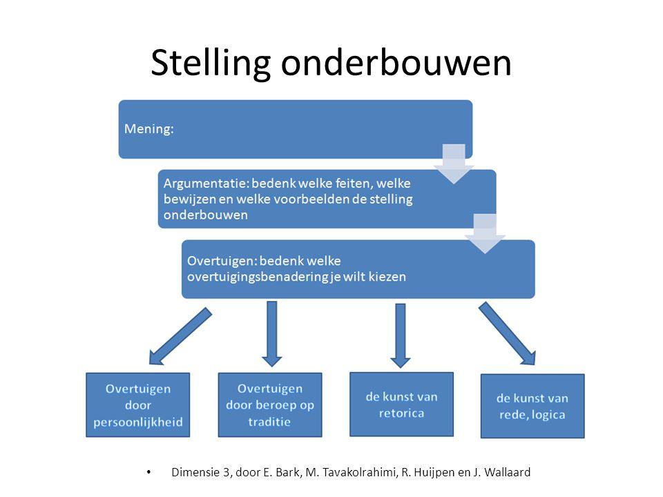• Dimensie 3, door E. Bark, M. Tavakolrahimi, R. Huijpen en J. Wallaard Stelling onderbouwen