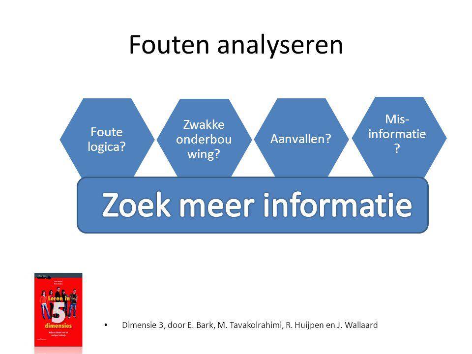 Fouten analyseren • Dimensie 3, door E. Bark, M. Tavakolrahimi, R. Huijpen en J. Wallaard Foute logica? Zwakke onderbou wing? Aanvallen? Mis- informat
