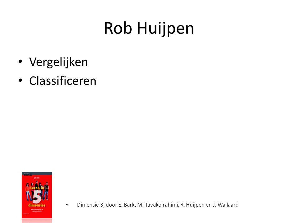 Rob Huijpen • Vergelijken • Classificeren • Dimensie 3, door E. Bark, M. Tavakolrahimi, R. Huijpen en J. Wallaard