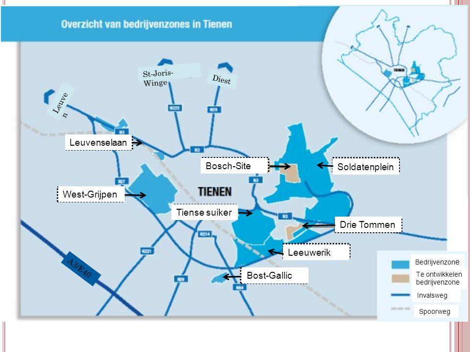 Bedrijvenzon e Te ontwikkelen bedrijvenzone Invalsweg Spoorweg St-Joris- Winge Diest Leuve n A3/E40 Leuvenselaan West-Grijpen Tiense suiker Bost-Galli