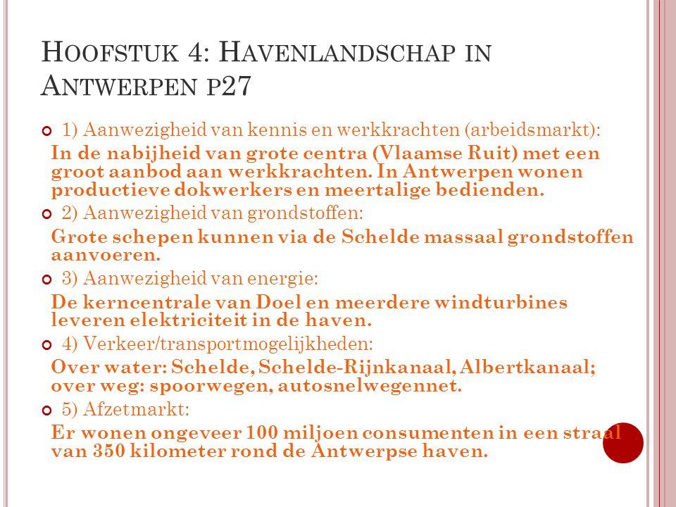 H OOFSTUK 4: H AVENLANDSCHAP IN A NTWERPEN P 27 1) Aanwezigheid van kennis en werkkrachten (arbeidsmarkt): In de nabijheid van grote centra (Vlaamse R