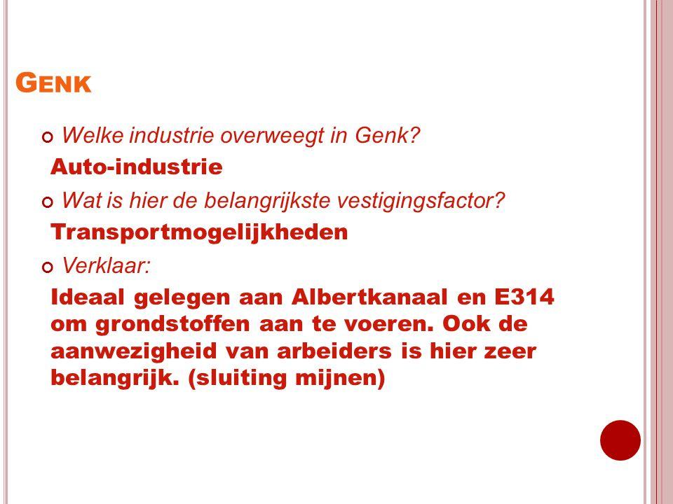 G ENK Welke industrie overweegt in Genk? Auto-industrie Wat is hier de belangrijkste vestigingsfactor? Transportmogelijkheden Verklaar: Ideaal gelegen