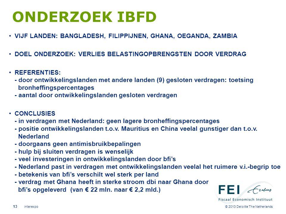 © 2013 Deloitte The Netherlands ONDERZOEK IBFD •VIJF LANDEN: BANGLADESH, FILIPPIJNEN, GHANA, OEGANDA, ZAMBIA •DOEL ONDERZOEK: VERLIES BELASTINGOPBRENG