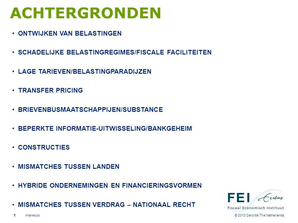 © 2013 Deloitte The Netherlands ACHTERGRONDEN •ONTWIJKEN VAN BELASTINGEN •SCHADELIJKE BELASTINGREGIMES/FISCALE FACILITEITEN •LAGE TARIEVEN/BELASTINGPA