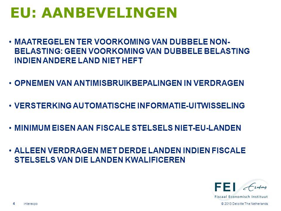© 2013 Deloitte The Netherlands EU: AANBEVELINGEN •MAATREGELEN TER VOORKOMING VAN DUBBELE NON- BELASTING: GEEN VOORKOMING VAN DUBBELE BELASTING INDIEN