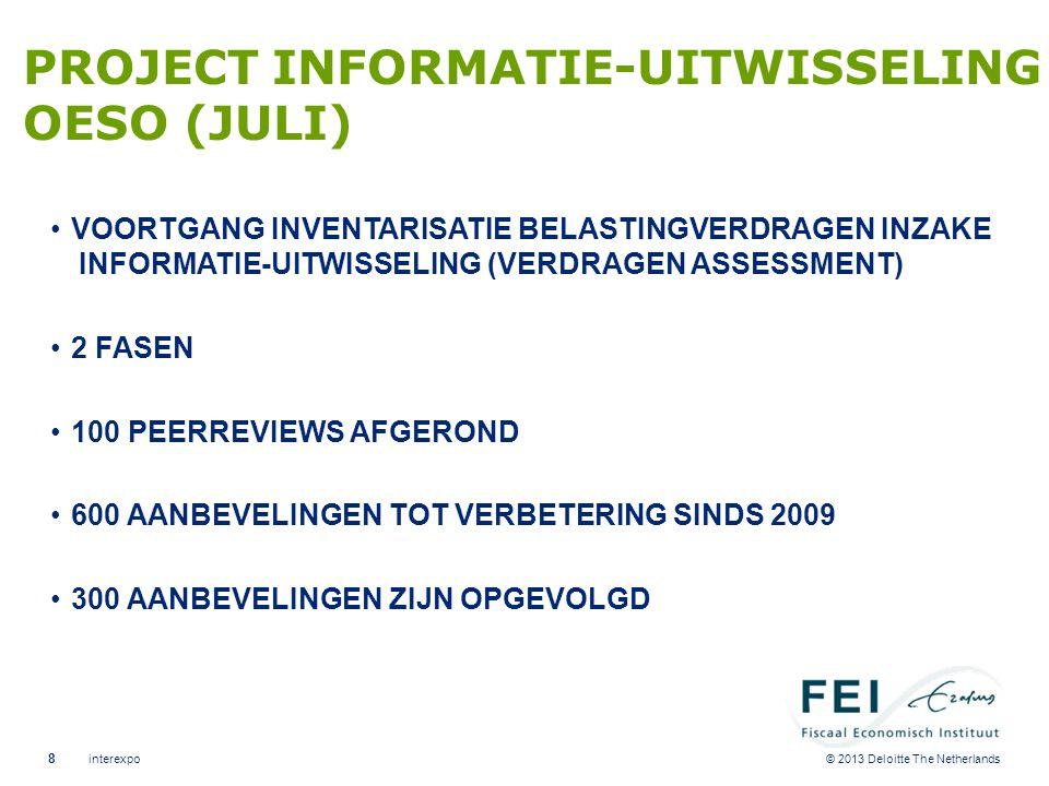 © 2013 Deloitte The Netherlands PROJECT INFORMATIE-UITWISSELING OESO (JULI) •VOORTGANG INVENTARISATIE BELASTINGVERDRAGEN INZAKE INFORMATIE-UITWISSELIN