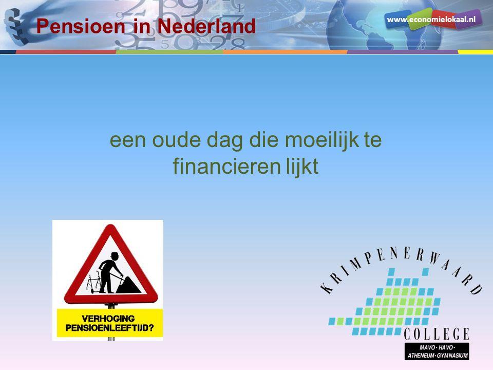 www.economielokaal.nl Pensioenopbouw •Laag 1: AOW –voor alle mensen die in Nederland wonen •Laag 2: Bedrijfspensioen –meestal verplicht deelname via werkgever •Laag 3: Individueel –niet iedereen Algemene Ouderdomswet (AOW) Bedrijfspensioen Individuele besparingen Individuele besparingen