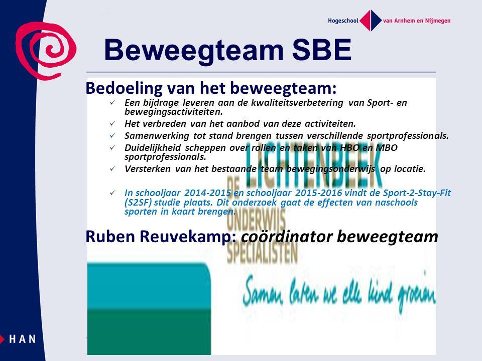 Beweegteam SBE Bedoeling van het beweegteam:  Een bijdrage leveren aan de kwaliteitsverbetering van Sport- en bewegingsactiviteiten.