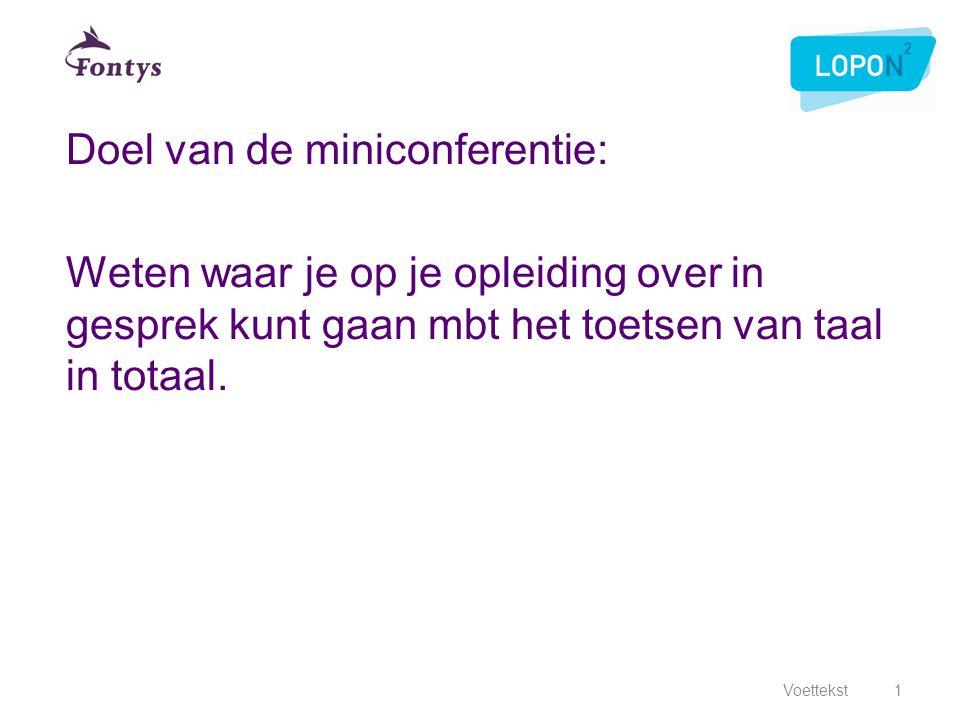 Doel van de miniconferentie: Weten waar je op je opleiding over in gesprek kunt gaan mbt het toetsen van taal in totaal. Voettekst1