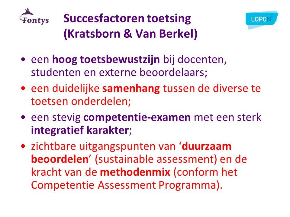 Succesfactoren toetsing (Kratsborn & Van Berkel) •een hoog toetsbewustzijn bij docenten, studenten en externe beoordelaars; •een duidelijke samenhang