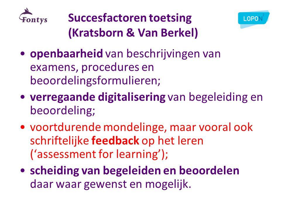 Succesfactoren toetsing (Kratsborn & Van Berkel) •openbaarheid van beschrijvingen van examens, procedures en beoordelingsformulieren; •verregaande dig