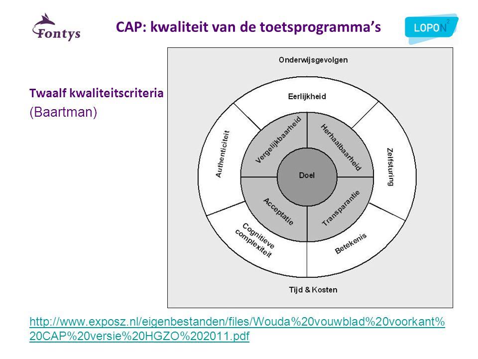 CAP: kwaliteit van de toetsprogramma's Twaalf kwaliteitscriteria (Baartman) http://www.exposz.nl/eigenbestanden/files/Wouda%20vouwblad%20voorkant% 20C