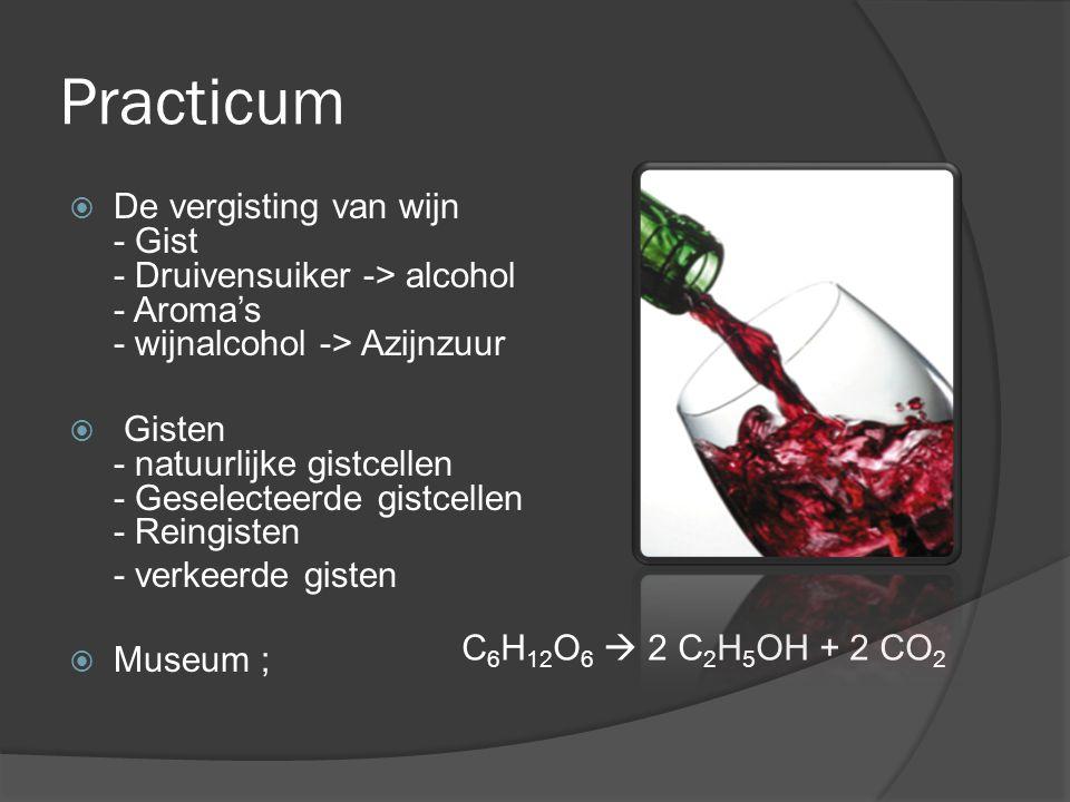 Practicum  De vergisting van wijn - Gist - Druivensuiker -> alcohol - Aroma's - wijnalcohol -> Azijnzuur  Gisten - natuurlijke gistcellen - Geselecteerde gistcellen - Reingisten - verkeerde gisten  Museum ; C 6 H 12 O 6  2 C 2 H 5 OH + 2 CO 2