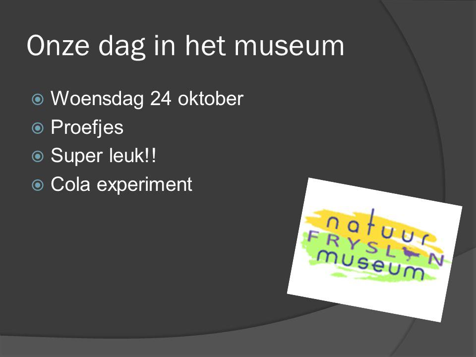 Onze dag in het museum  Woensdag 24 oktober  Proefjes  Super leuk!!  Cola experiment